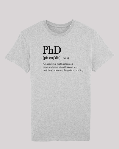 "Herren T-Shirt ETH001-PhD von ethicted in Heather Grey, Spaß-Lexikon-Text ""An academic that..."", gefertigt aus Bio-Baumwolle"