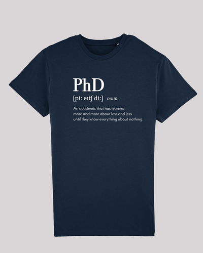 "Herren T-Shirt ETH001-PhD von ethicted in French Navy, Spaß-Lexikon-Text ""An academic that..."", gefertigt aus Bio-Baumwolle"