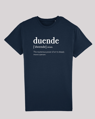 "Herren T-Shirt ETH001-duende von ethicted in French Navy, Spaß-Lexikon-Text ""duende, noun. The mysterious..."", gefertigt aus Bio-Baumwolle"