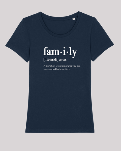 "Damen T-Shirt ETH002-family von ethicted in French Navy, Spaß-Lexikon-Text ""A bunch of..."", gefertigt aus Bio-Baumwolle"