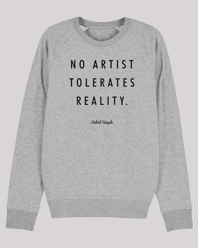 "Herren Sweatshirt ETH004-no-artist in Heather Grey von ethicted, Zitat-Text ""No artist tolerates..."", gefertigt aus Bio-Baumwolle"
