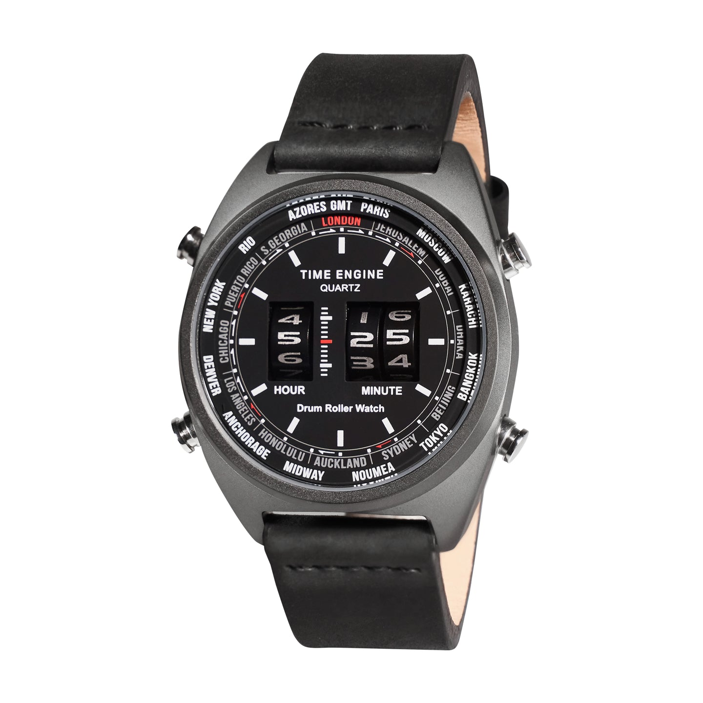 Time Engine Drum Watch - Black IP Case with Black Strap