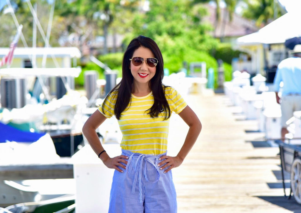 Yellow Striped Blouse - Spring Women Tee - Striped Blue Skirt