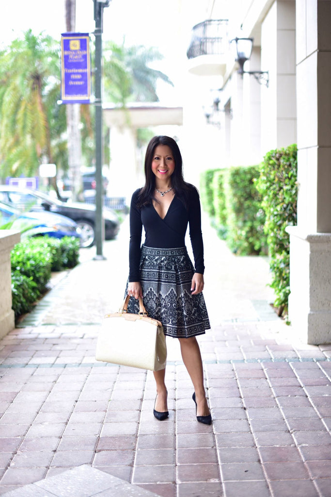 Maje 'Jour' Bonded Lace Skirt, Asian mom, fashion tips