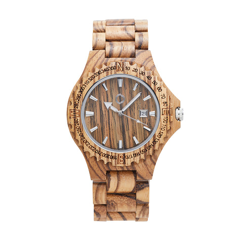 Wooden Watch Amsterdam Zebrano