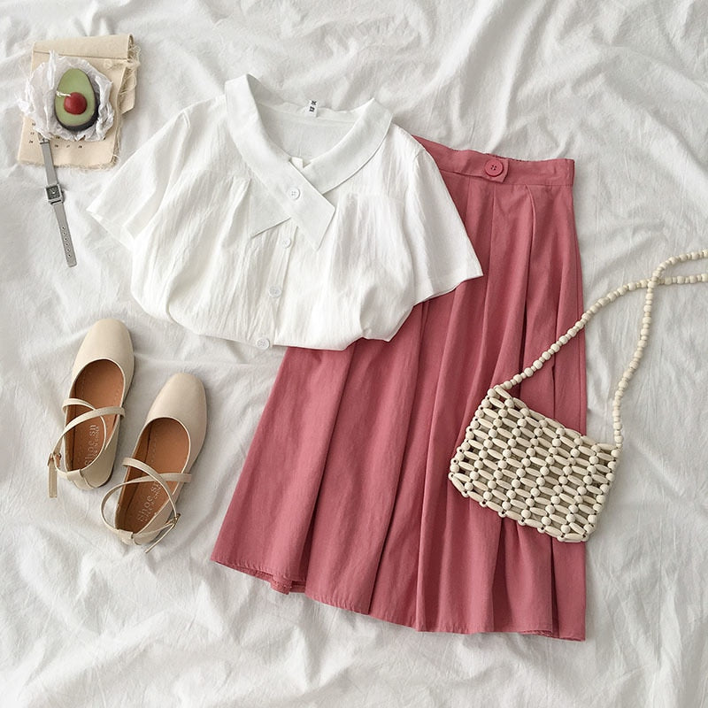 Elegant Fasion Summer 2 Piece Set Women Casual Solid Skirt Set Two Pieces Set Summer Outfits Pink Black Matching Set