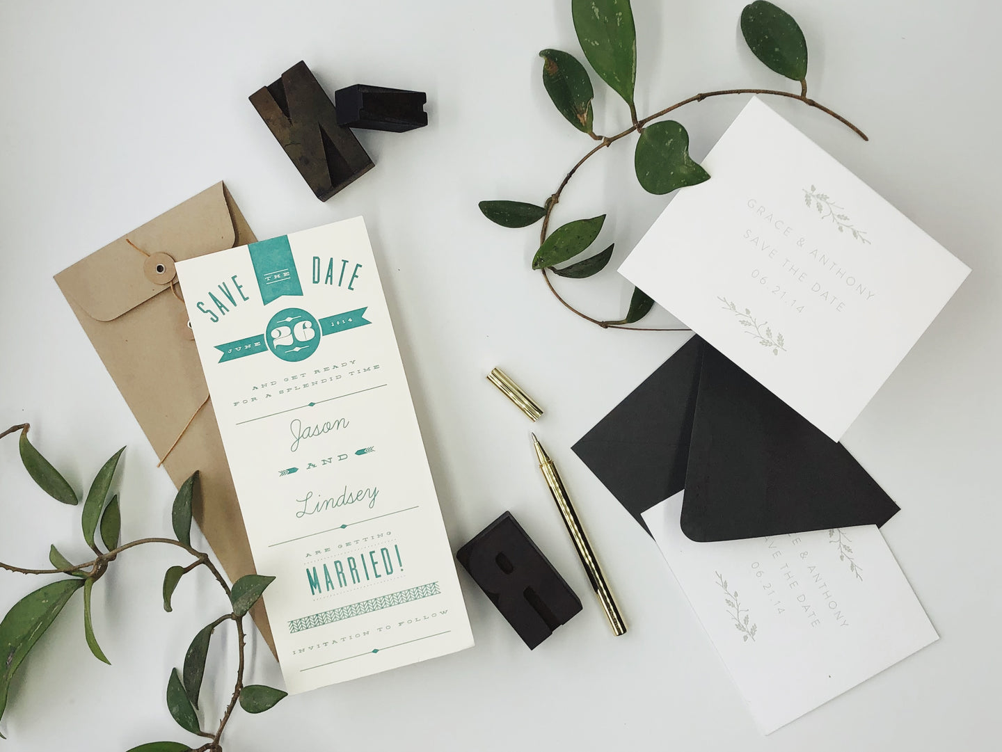Custom Letterpress Printing Kansas City Wedding Invitations