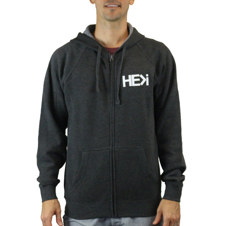 UNISEX LOGO HOODIE IN DARK HEATHER GREY