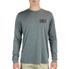 MEN'S BOX LOGO LONG-SLEEVE TEE IN DEEP HEATHER