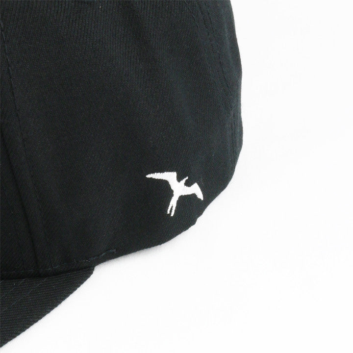 WHITE ON BLACK SNAPBACK HAT