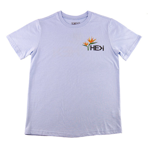 WOMEN'S BIG HIBISCUS TEE IN LIGHT BLUE HEATHER
