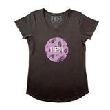 WOMEN'S ALOHA CIRCLE TEE IN COAL