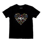 KID'S FLORAL HEART TEE IN BLACK