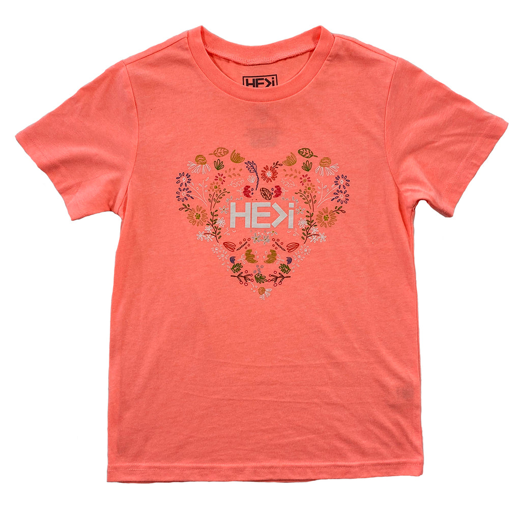 KID'S FLORAL HEART TEE IN FLAMINGO