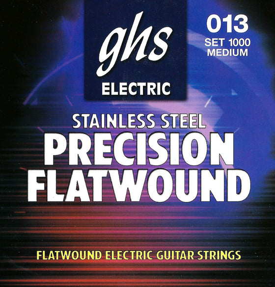 1000 GHS Precision Flatwound Stainless Steel Electric Guitar String Set - Medium 13-54