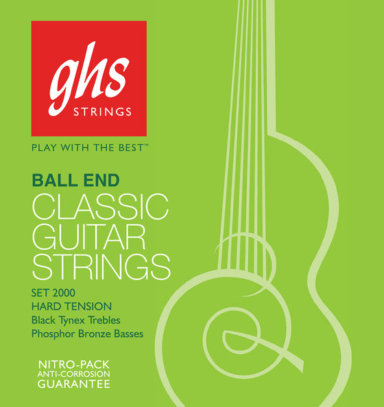 2000 GHS Black and Bronze Classical Guitar String Set - Ball End
