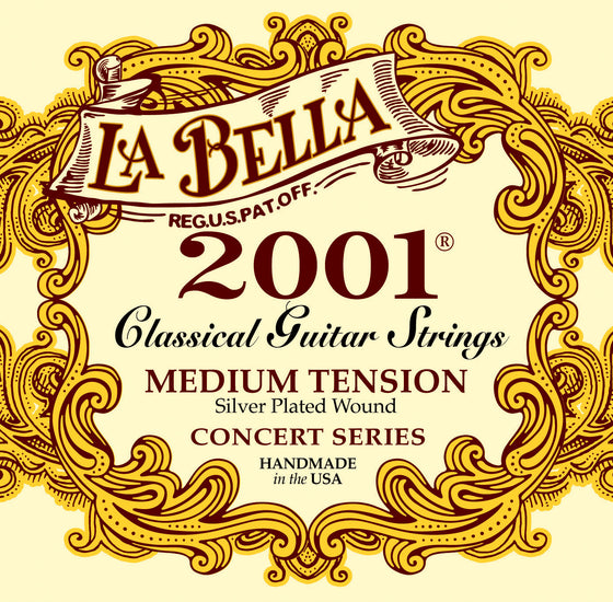 2001MEDIUM LaBella Classical Guitar Strings - Silver Wound Basses
