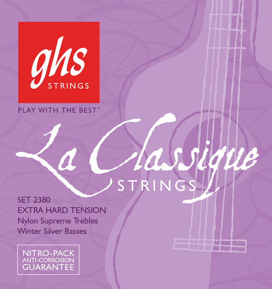 2380 GHS LaClassique Classical Guitar Strings Nylon Supreme / Winter Silvers - Super High Tension