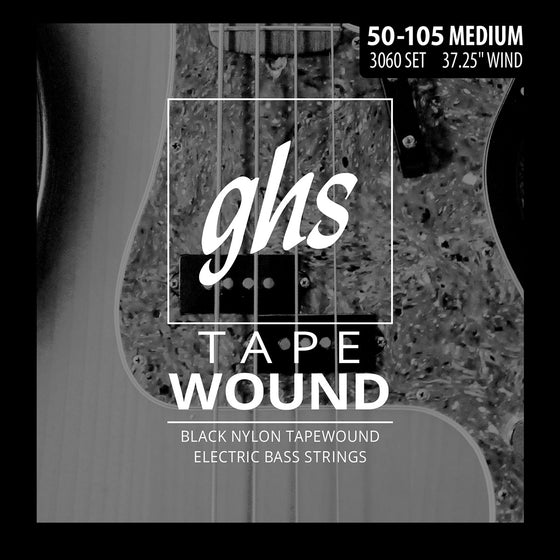 3060 GHS Black Nylon Tape Wound Electric Bass String Set - 50-105