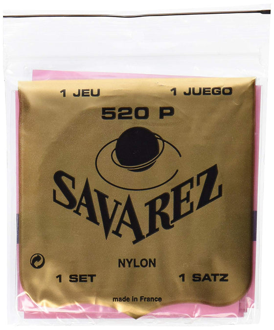 520P Savarez Classical Guitar Strings Normal Tension - Wnd Bass, Plastic Treb, Nylon E