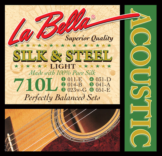 710L LaBella Silk and Steel Acoustic Guitar String Set - Light 11-51