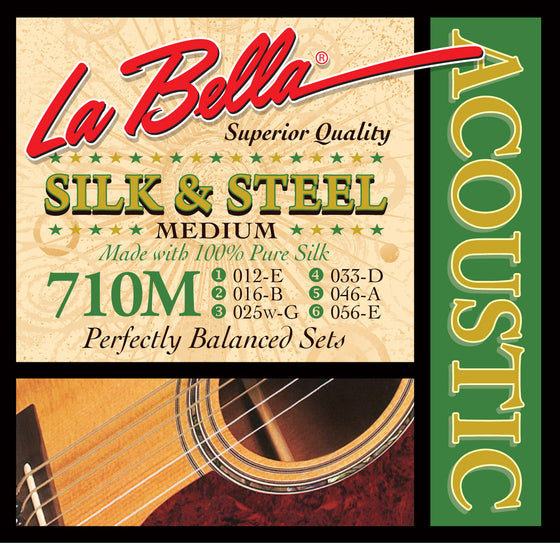 710M LaBella Silk and Steel Acoustic Guitar String Set - Medium 12-56