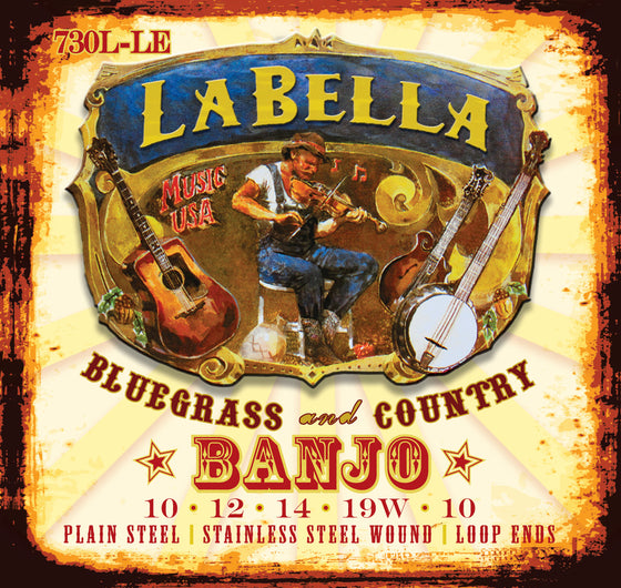 730L-LE LaBella Stainless Steel Banjo Strings - Light Loop End