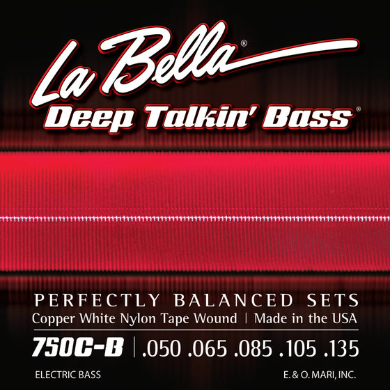 750C-B LaBella Deep Talkin Bass Copper White Nylon Tape Wound - Light 50-135