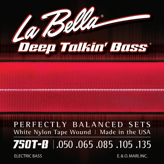 750T-B LaBella Deep Talkin Bass White Nylon Tape Wound - 50-105 + 135 Low B