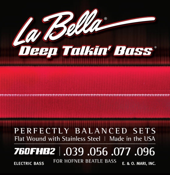 760FHB2 LaBella Deep Talkin Beatle Bass Stainless Steel Flat Wound - 39-96