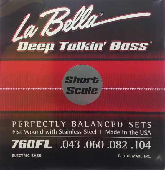 760FL-S  LaBella Deep Talkin Bass Stainless Steel Flat Wound - Light 43-104 - SHORT SCALE