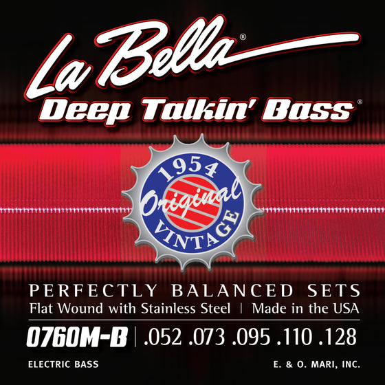 0760M-B LaBella Deep Talkin' Bass 1954 Stainless Steel Flat Wound 52-110 + 135 Low B