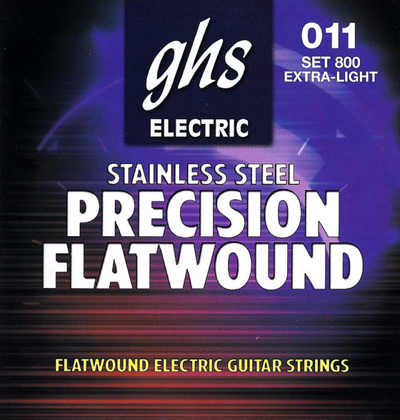 800 GHS Precision Flatwound Stainless Steel Electric Guitar String Set - Extra Light 11-46