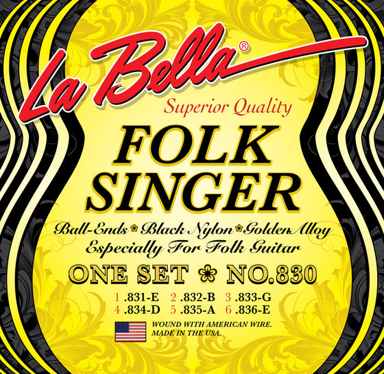 830 LaBella Folksinger Ball End - Black Nylon
