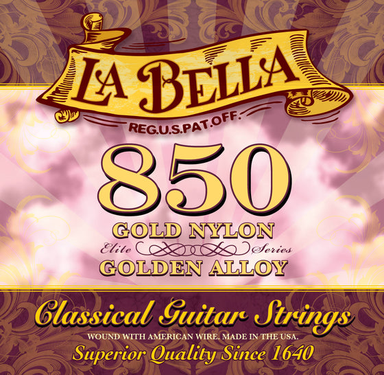 850 LaBella Classical Guitar String Set - Gold Nylons with Golden Alloy Basses
