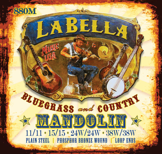 880M LaBella Phosphor Bronze Loop End Mandolin Strings - Medium