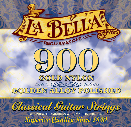 900 LaBella Classical Guitar String Set - Gold Nylons with Polished Gold Alloy Basses