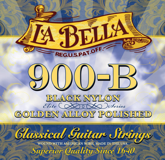 900B LaBella Classical Guitar String Set - Black Nylons with Polished Gold Alloy Basses