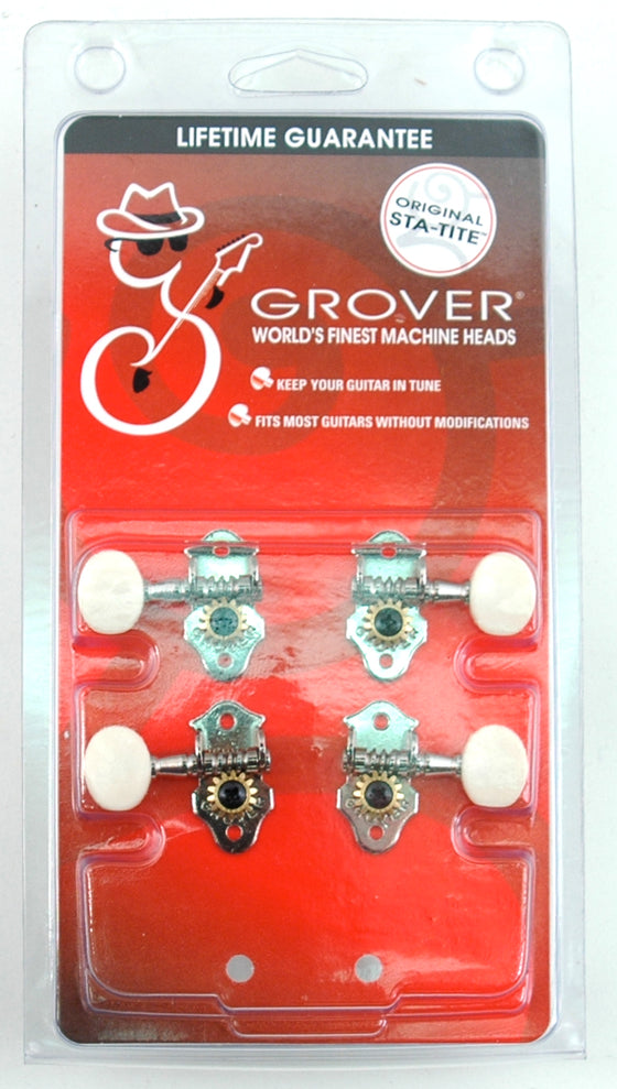 9NW Grover Ukulele Tuners Nickel - White Buttons