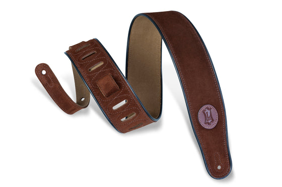 "MSS3-BRN Levy's Leather 2 1/2"" Signature Series Suede Guitar Strap - Brown"