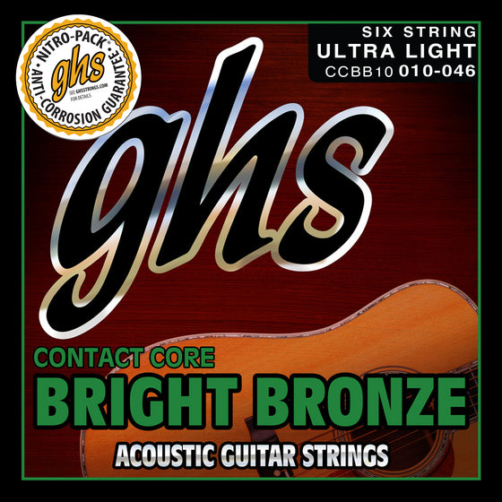 CCBB10 GHS Contact Core Bright Bronze Acoustic Guitar String Set - Ultra Light 10-46