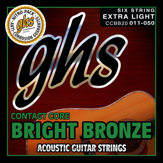 CCBB20 GHS Contact Core Bright Bronze Acoustic Guitar String Set - Extra Light 11-52