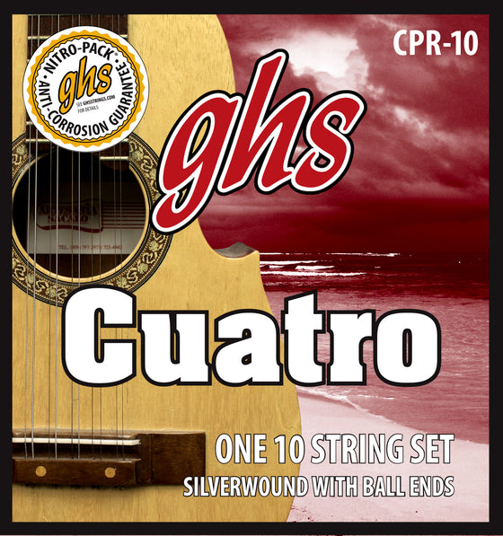 CPR-10 GHS Silver Wound Cuatro Puerto Rico String Set - Ball End