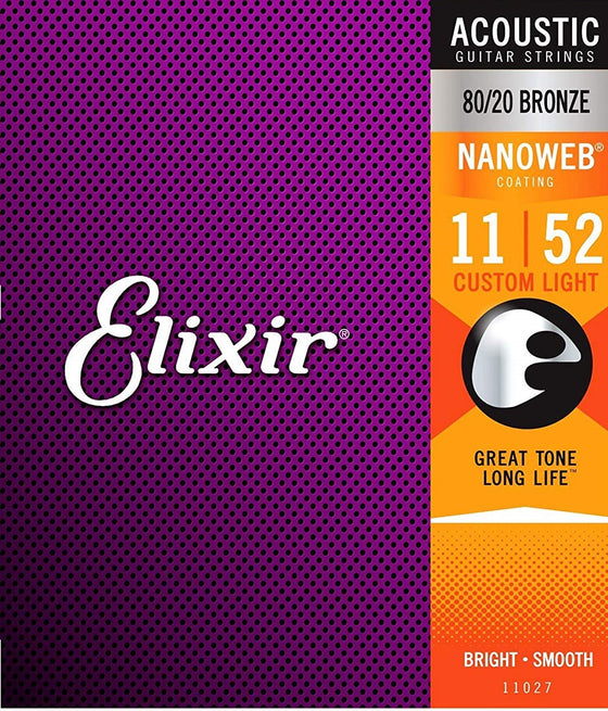 11027 Elixir Nanoweb Acoustic Guitar Strings - Custom Lights
