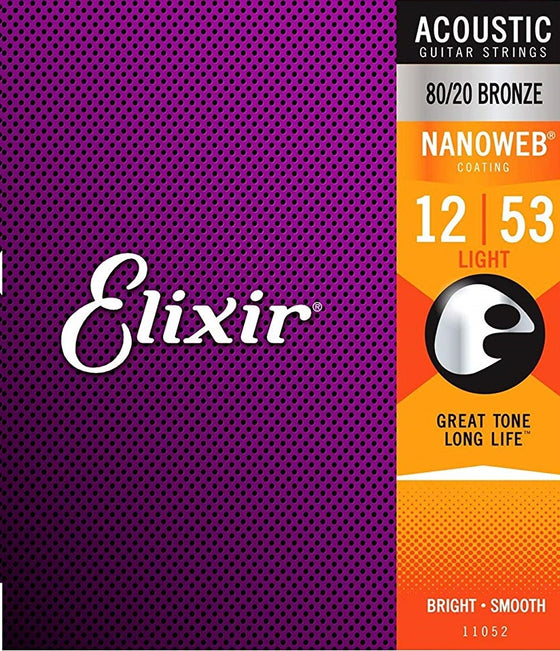 11052 Elixir Nanoweb Acoustic Guitar Strings - Light