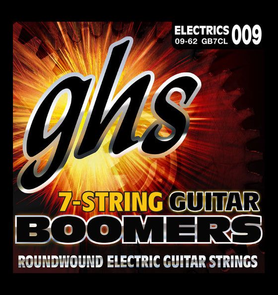 GB7CL GHS 7 String Round Wound Electric Guitar String Set - Custom Lights 9-62