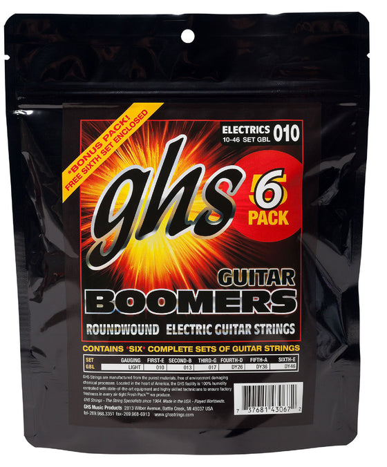 GBL-5 GHS Roundwound Boomers Electric Guitar Set 6 Pack - Light 10-46