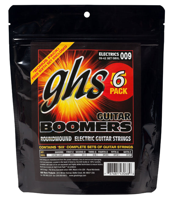 GBXL-5 GHS Roundwound Boomers Electric Guitar Set 6 Pack - Extra Light 9-42