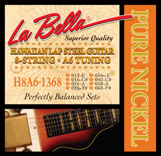 H8A6-1368 Labella 8 String Hawaiian Lap Guitar Set - A6 Tuning