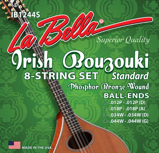 IB1244S LaBella Irish Bouzouki Phosphor Bronze String Set - Ball End 12-44